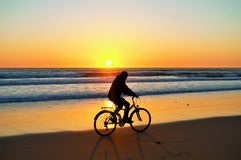 Solnedgångwhithcykel Arkivbild