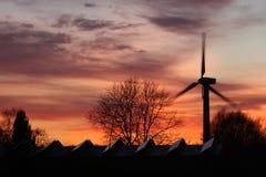 solnedgångwindmill Royaltyfri Bild