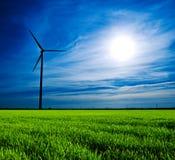 solnedgångwindmill fotografering för bildbyråer