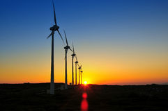 solnedgångwindmills Arkivbilder