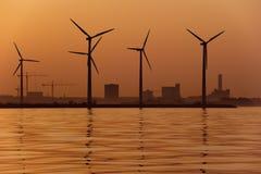 solnedgångwindmills arkivbild