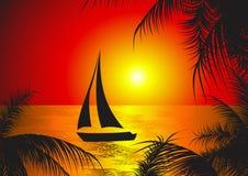 solnedgångyaght Fotografering för Bildbyråer