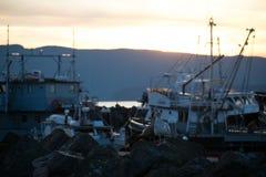 Solnedgång på marina royaltyfri bild