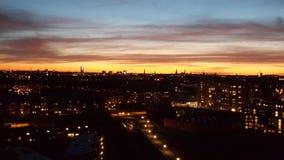 Solnedgang au-dessus d'amager Photographie stock libre de droits