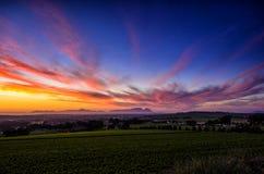 Solnedgång bak tabellberget Sydafrika Arkivfoton