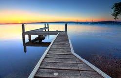 Solnedgång Belmont Australien Arkivbilder