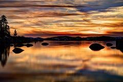 Solnedgång för HDR Tahoe Fotografering för Bildbyråer
