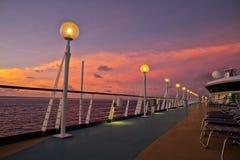 Solnedgång för kryssningskepp Royaltyfri Fotografi