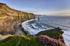 solnedgång för moher för clare klippaco ireland clare Fotografering för Bildbyråer