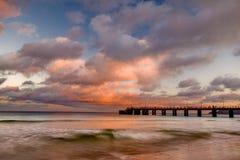 solnedgång för pirporto santo Royaltyfri Fotografi