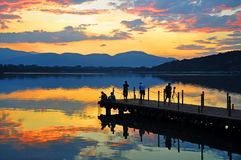 Solnedgång för sommarslott Arkivbilder