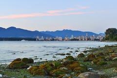 Solnedgång för Vancouver engelskafjärd Arkivfoto
