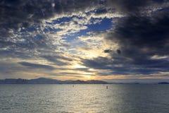 Solnedgång för Yanwu visningplattform Arkivfoto