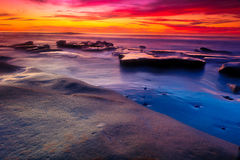 Solnedgång i La Jolla Arkivbild