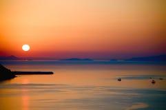 Solnedgång i Santorini Arkivbild