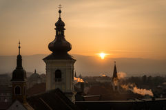 Solnedgång i Sibiu Royaltyfri Foto