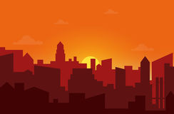 Solnedgång i staden Illustration för vektor för Cityscapekontursoluppgång Arkivbild