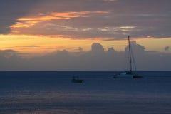 Solnedgång och hav Fotografering för Bildbyråer
