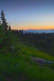 Solnedgång och stjärnaOSnationalpark Arkivfoto