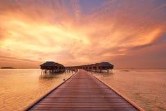 Solnedgång på den maldiviska stranden Arkivbild