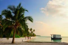 Solnedgång på den Meeru ön, Maldiverna Royaltyfria Bilder