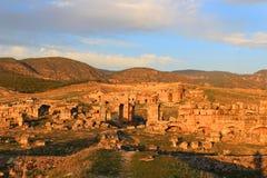 Solnedgång på Hieropolis, Turkiet Royaltyfri Fotografi