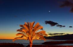 Solnedgång på stranden med moonrise i madeirainsel, Arkivfoto