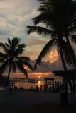 Solnedgång på tropiskt läge Royaltyfri Bild