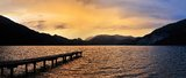 Solnedgång på Wolfgangsee Fotografering för Bildbyråer