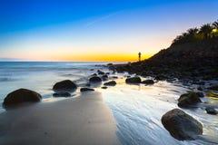 Solnedgång över Atlantic Ocean på den Gran Canaria ön Fotografering för Bildbyråer