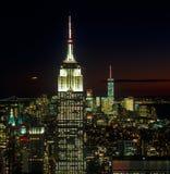 Solnedgång över ett New York City Arkivbild