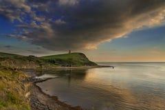 Solnedgång över klipporna på Kimmeridge Fotografering för Bildbyråer