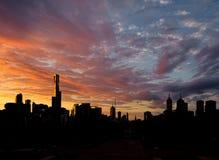 Solnedgång över Melbourne Arkivbilder