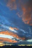 Solnedgång över Mt. Mansfield, VT, USA Arkivfoton