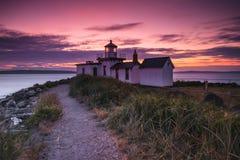 Solnedgångfyr Fotografering för Bildbyråer