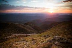 Solnedgångsikt för Mt Buller Royaltyfri Fotografi