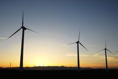 solnedgångwindmills Arkivfoto