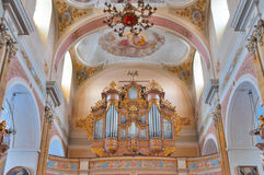 Church organ, Kalisz, Poland. Baroque church organ in the Basilica of the Assumption of the Blessed Virgin Mary (Bazyllika Wniebowziecia Najswietszej Maryi Panny Stock Images