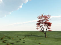 Solo árbol en horizonte ilustración del vector