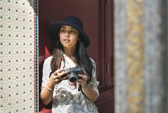 The solo Asian female traveler stock image