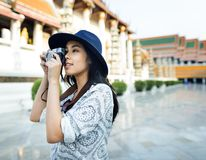 The solo Asian female traveler royalty free stock photos