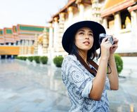 The solo Asian female traveler royalty free stock image