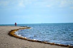 Solo beach walk ashore Stock Photo