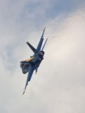 Solo Blue Angel Turns and Burns. Showing Afterburner Stock Photo