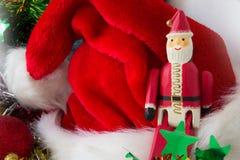 Solo de Santa Claus enfocado con el sombrero del rojo de la falta de definición Fotos de archivo libres de regalías