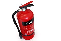 Solo extintor rojo del CO2 foto de archivo libre de regalías