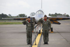 Solo flight graduated. Two Indonesian air force pilots graduated after passing the exam solo flight at the air force base in the city of Solo, Central Java Stock Photo