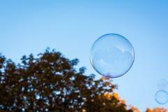 Solo fondo circular redondo Ora de la naturaleza del cielo azul de la burbuja de jabón Fotografía de archivo libre de regalías