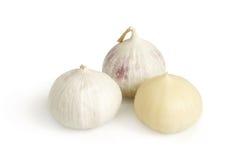 Solo garlic. On a white background Stock Photo