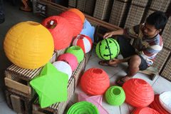 Making Paper Lantern for Lunar New Year Royalty Free Stock Photography